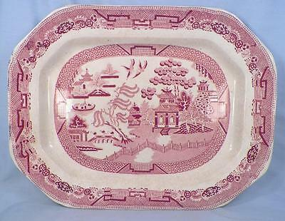 Antique Pink Willow Platter Pottery Red Transferware Blue Willow Pattern