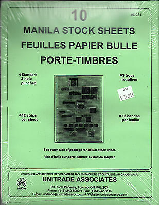 Manila Stock Sheets For Stamps 10 Pages New