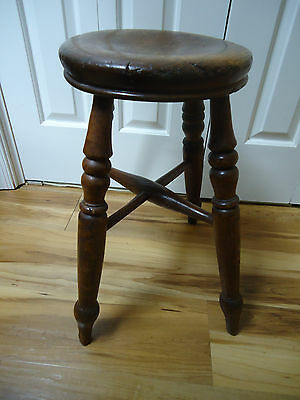 "Unusual Vintage Antique Primitive 4 Leg Wood Round 20""  Stool Nice Patina"