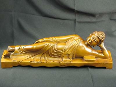 Rare Beautiful Vintage Chinese Hand Carved Wood Statue Of Sleeping Buddha