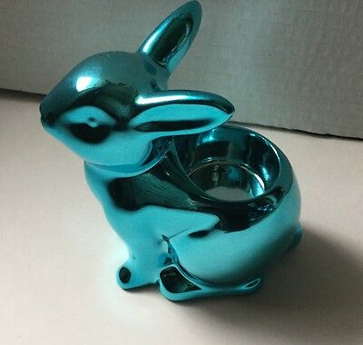 Yankee Candle Easter Springs Teal Bunny Tea Light Candle Holder 2017 Sold Out