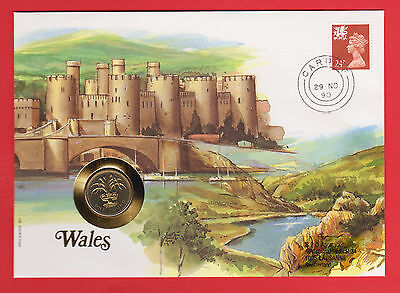 WALES £1 Pound 1990 GB Coin Stamp Cover 24p FDC SET WELSH LEEK FLORA ENGLAND UK