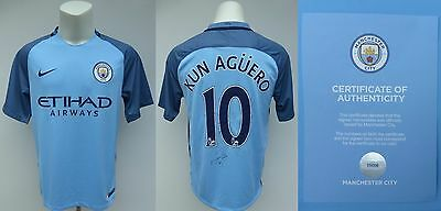 2016-17 Man City Home Shirt Signed by Sergio Aguero No.10 - Official COA (11020)