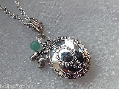 "Peter Pan ""never say goodbye.."" Silver Locket Quote Necklace, Acorn Peter Pan"