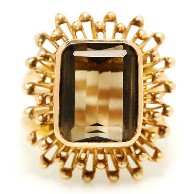 Vintage Smoky Topaz Solitaire Ring in 14kt Yellow Gold 7 Carat Emerald Cut