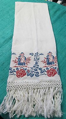 Antique Linen Damask Fringed Show Towel Red & Blue Pilgrim Ladies Jacquard