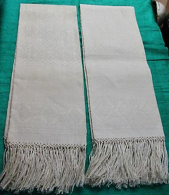 Antique Pair Fringed Linen Show Towels Heavy Textured Fabric Never Used?