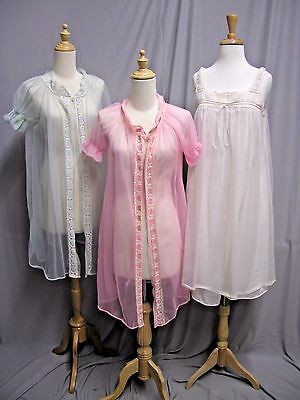 #17128, 3 Piece Nylon 1960's Nightgown & Robes