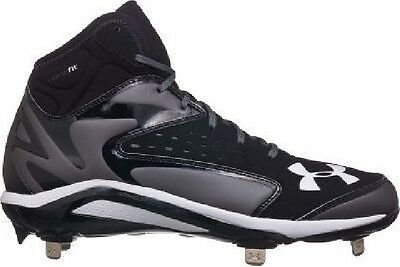 NIB Men Under Armour Yard Mid Metal Baseball Softball Cleats Black/Gray 13.5 NEW