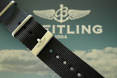 Quality 20Mm Black Nylon Nato Watch Band Watchband Bracelet Strap Fit Breitling