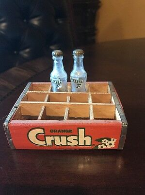 Vintage Miniature Orange Crush Advertising 2 bottle + Wood case/crate Argentine