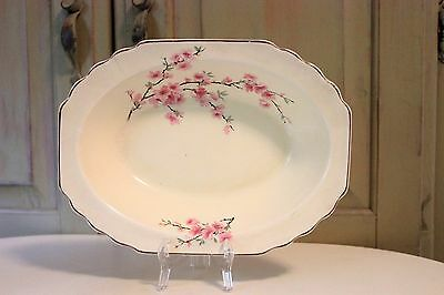 Vintage WS George Lido Canarytone China Oval Serving Bowl Made USA 155A Cherry