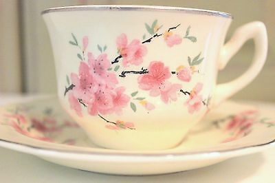 Vintage WS George Lido Canarytone China Tea Cup and Saucer Teacup Set Cherry