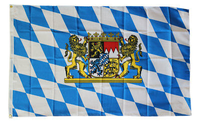 Bavaria Flag 3x5 With Lion White Blue Polyester 2 Brass Grommets Germany