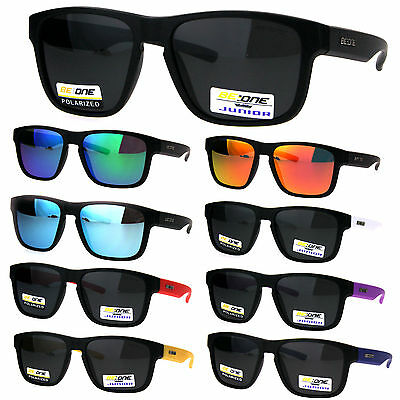 Kids Size Boys Polarized Rectangular Keyhole Sport Plastic Sunglasses