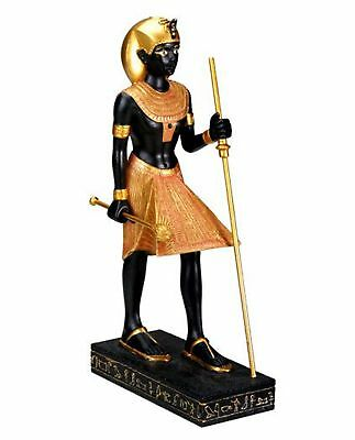 """8"""" Egyptian Tomb Guardian Statue King Tut Hand Painted Black Gold Table Decor"""