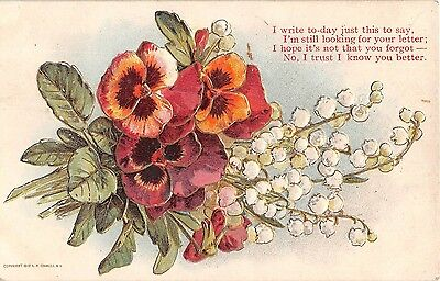 Bouquet of Pretty Pansies & Lily of the Valley on 1910 Postcard With Poem