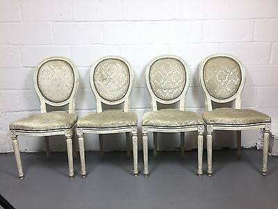Antique Set of 4 Louis XVI Dining Chairs White Upholstery