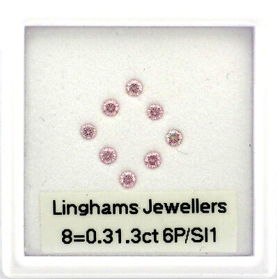 Natural Argyle Pink Diamonds 8=0.31.3ct 6P/Si RBC