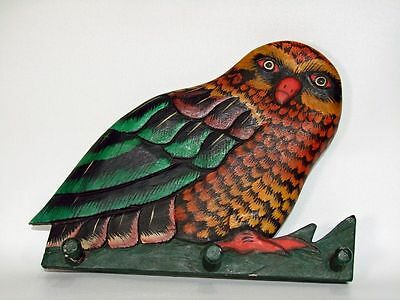 Antique Vintage Folk Art Hand Carved and Painted Wooden Owl Pegged Wood Rack