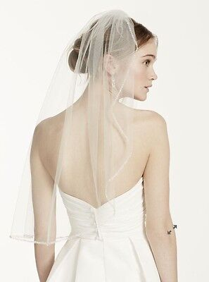 David's Bridal Elbow Length Veil, 1 Tier With Beaded Edge - Ivory