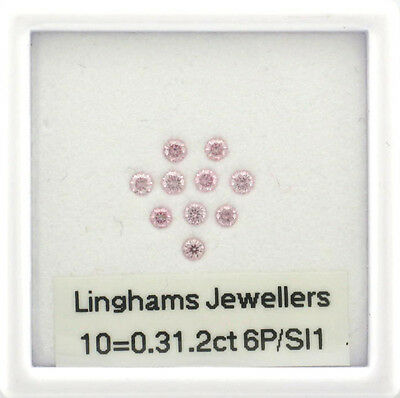Natural Argyle Pink Diamonds 10=0.31.2 6P/Si1 RBC