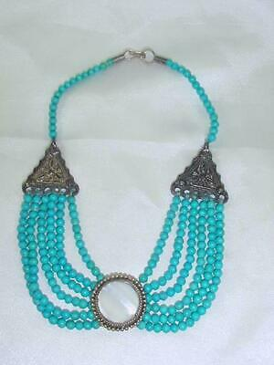 Antique Middle Eastern Bedouin Turquoise Color Stones Bib Necklace Silver  #1434