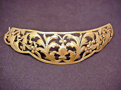 Barrette Vintage ART NOUVEAU Brass cut work Etched Design Very Lovely to wear
