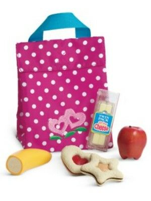 American Girl Bitty Twins Snack Set Lunch Bag for Doll New polka dot