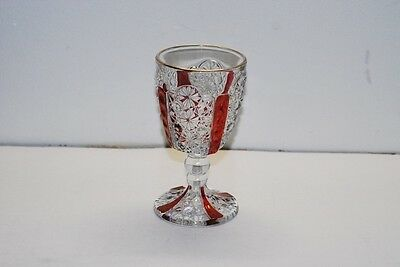 L G LG Wright Daisy & Button RUBY FLASHED Wine Goblet Goblets 4 7/8 Inch