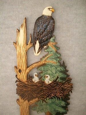 Hand Carved BALD EAGLE NEST & CHICKS Wall Art Chainsaw Rustic Decor Wood Carving