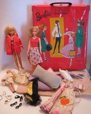 Old 1967 Mattel Barbie Doll Case, 2 Dolls & Clothing + 1 Lesney Rubber Doll