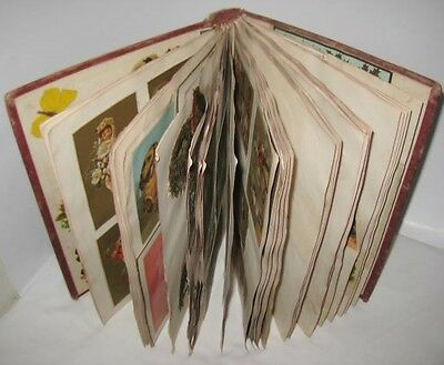 Old Victorian Scrapbook Album 68 Pgs - Diecuts Trade Cards Children w/ Insects