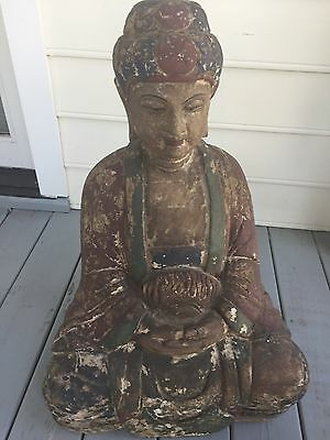 """Very Fine Large Seated Chinese Temple Buddha 17th18thc. 28"""""""