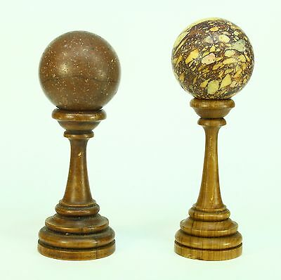 *Antique 1800's Porphyry & Breccia Marble Stone Ball Sphere Samples on Stands