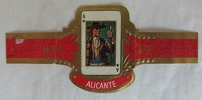 Vintage Hss Alicante Ace Of Spades Playing Card Cigar Band           (Inv13434)