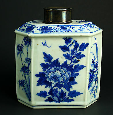 ! KANGXI (1654-1722) Chinese Blue & White Porcelain Tea Caddy w. Sterling Lid