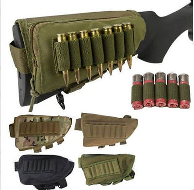 Rifle Shotgun Buttstock Ammo Pouch Shell Cartridge Holder Cheek Rest Gun Stock