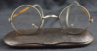 Antique Optal German Spectacles reading glasses tin Metal Case box Gilt Frame