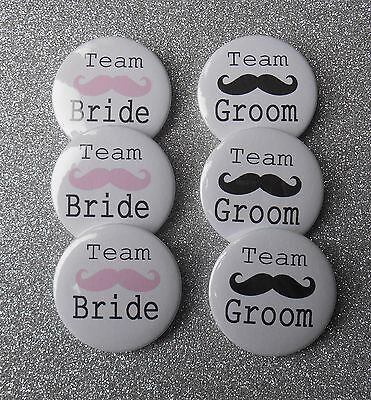 "20 x Team Bride and Groom Moustache 1"" Favour Badges Hen Party Stag Do Wedding"
