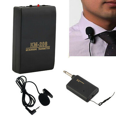 Wireless FM Transmitter Receiver Lavalier Lapel Clip Microphone with Mic System