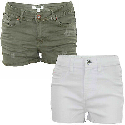 Ladies Denim Shorts Frayed Stretch Women Summer Jeans Ripped Hot Pants UK 6-10