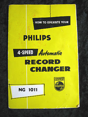 Philips 4 Speed Auto Record Changer Operatng Instructions Book