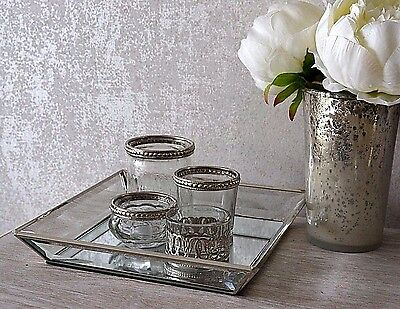 Glass Mirrored Jewellery Candle Decorative Display Tray Plate Gift