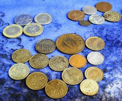 Bunch of Vintage British Coins & Other Various Foreign, Some Drilled as Pendants