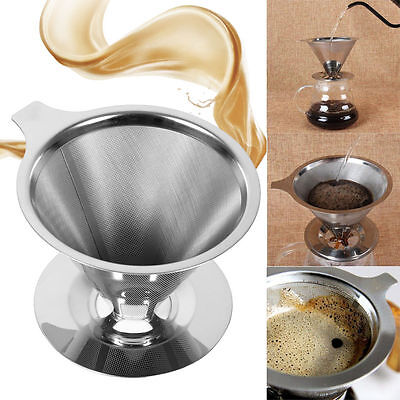 Stainless Steel Pour Over Cone Dripper Reusable Coffee Filter Paper W Cup Stand