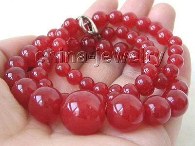 """P2701 - 18"""" 6-14-6mm natural perfect round red jade necklace - GP clasp"""