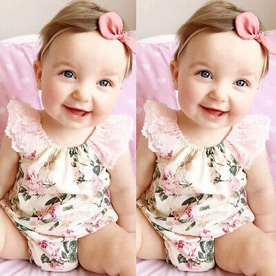0-2Y Baby Girls One Piece Lace Short Sleeve Floral Romper Suit Jumpsuit Outfits