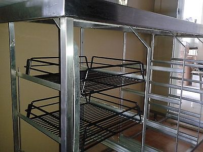 Commercial Kitchen Bench with Racks Baskets Trays Glasswasher Stainless Steel
