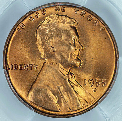 1955-D PCGS MS66+RD Lincoln Cent